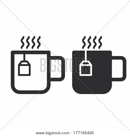 Cup of tea line and solid icon outline and filled vector sign linear and full pictogram isolated on white. Hot drink symbol logo illustration