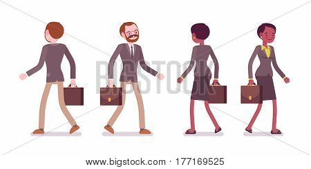 Set of young male and female teacher in a strict formal wear, walking pose, engaged, interested in work, on the way to school for the lesson, full length, front, rear view, isolated, white background