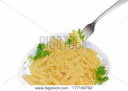 Fragment of the stainless steel fork with some cooked cylinder-shaped pasta and the small parsley twigs over of a dish with the same pasta on a light background