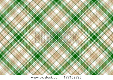 Beige green white plaid seamless background. Vector illustration.