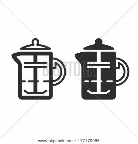 French press coffee plunger line and solid icon outline and filled vector sign linear and full pictogram isolated on white. Symbol logo illustration