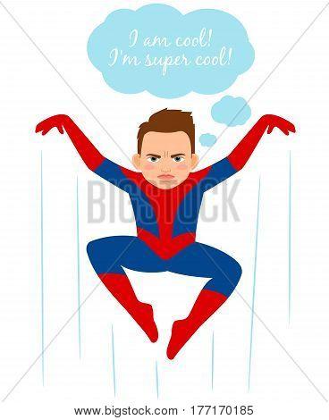 Superhero spider boy vector illustration. Cartoon urchin kid in spider costume, comics books fan vector illustration
