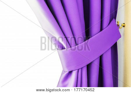 purple curtains and blinds hanging in the room background