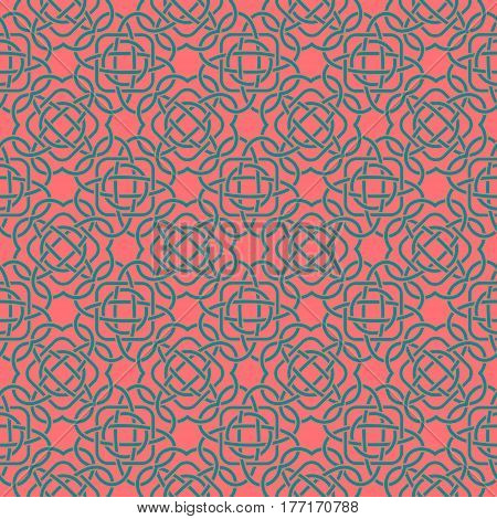 Celtic Seamless Pattern In Medieval Style. Turquoise Tangle On Pink Background. Endless Repeat Backd