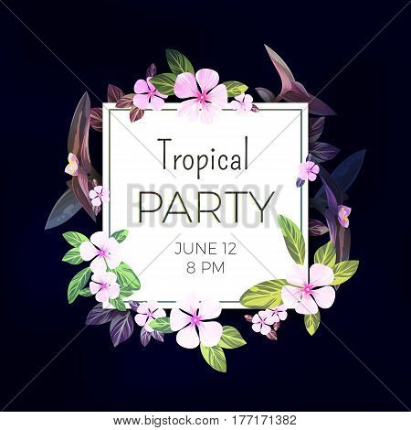 Dark tropical background with pink and purple flowers. Exotic summer party flyer design, vector illustration.