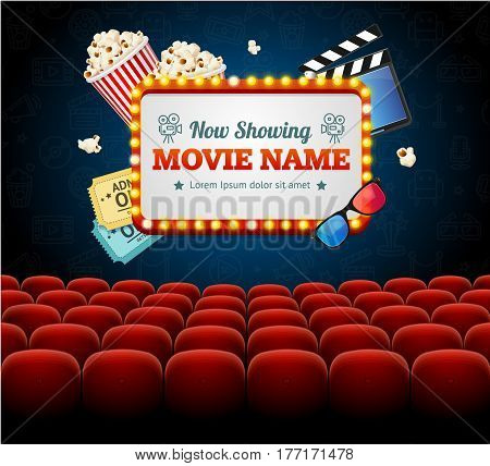 Cinema Movie Retro Concept with Seats Rows and Light Bulbs Vintage Neon Glow Banner Frame. Vector illustration