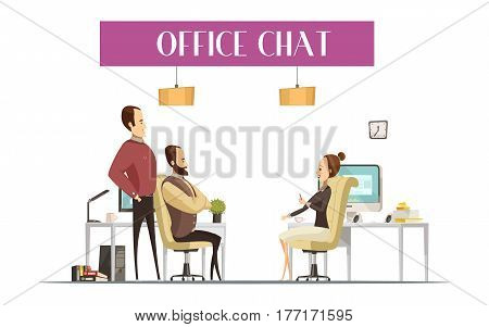 Office chat composition in cartoon style with cheerful men and woman during communication at workplaces vector illustration