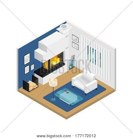 Living room interior with modern fireplace window blind furniture and carpet on beige floor isometric vector illustration