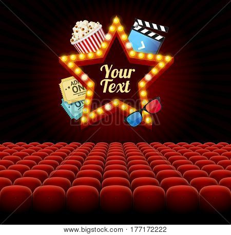Cinema Movie Retro Concept with Seats Rows and Light Bulbs Vintage Neon Glow Star for Text. Vector illustration