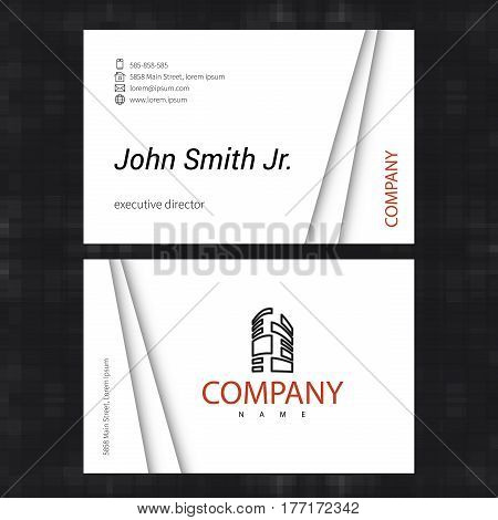 Simple light business card template. Standard business card size throughout UK and Europe. Vector illustration.