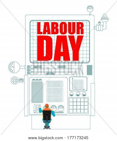 Labor Day. Worker In Helmet At Work. International Workers' Day. Operator At Factory