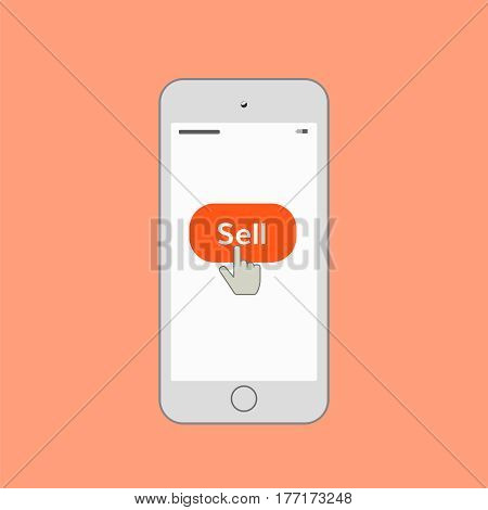 Mobile phone with sell button . Mobile phone with sell button