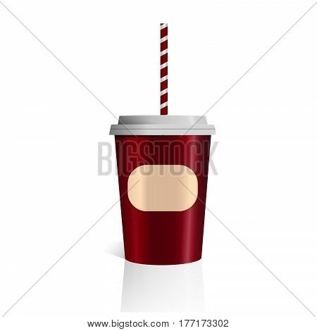 Red Vector Color Coffee Cup Isolated On White Background Photorealistic 3D Vector Eps 10 Mockup