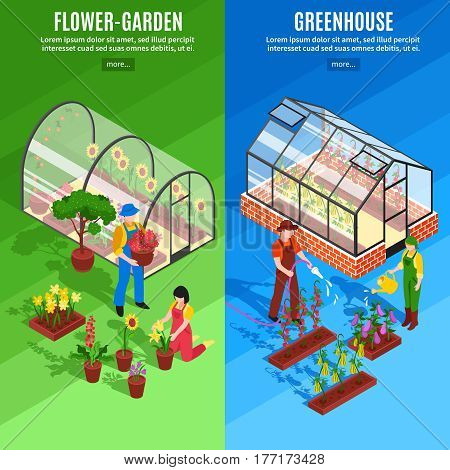 Two vertical greenhouse vertical banner set with flower garden and greenhouse descriptions vector illustration