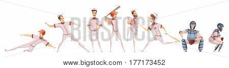 Baseball players colored icons set with cartoon sportsman figurines in different poses on white background flat isolated vector illustration