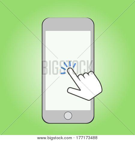 Smartphone and click cursor Finger sign click
