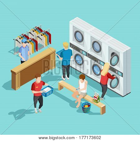 Self service coin public laundry facility interior with customers washing and drying clothes isometric poster vector illustration