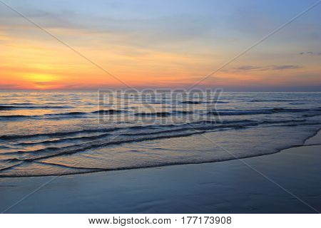 Travel to island Koh Chang, Thailand. The colorful sunset on the beach.