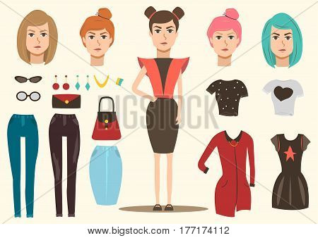 Catwalk fashion group of isolated costumes accessories and hair style images with full length female model vector illustration