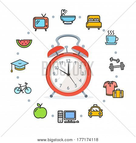Daily Routines Concept Healthy Life Living Habit Icon Symbol Set with Alarm Clock. Vector illustration