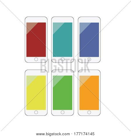 Set of mobile phones with colored screens. Smartphone mockup