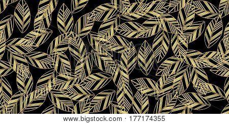 gold leaves seamless on black background. vector illustration