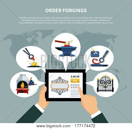 Blacksmith order forgings concept with online forged products store on tablet screen top worldwide with icons vector illustration