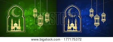 Set of two Ramadan greeting cards on blue and green backgrounds.