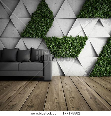 Sofa in modern interior with concrete wall of blocks and vertical garden. 3D illustration.