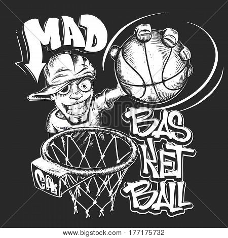 Mad basketball slam t-shirt print design vector illustration.
