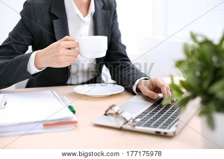 Close up of business woman  hands  with a cup of coffee is sitting at the table and typing on a laptop computer in the white colored office .