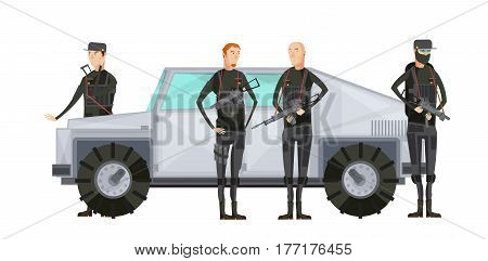 Flat intelligence agency colored composition with special services workers stand near the armored car vector illustration