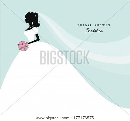 Beautiful bride silhouette on pastel blue. Can be used for wedding, save the date, bridal shower invitation.