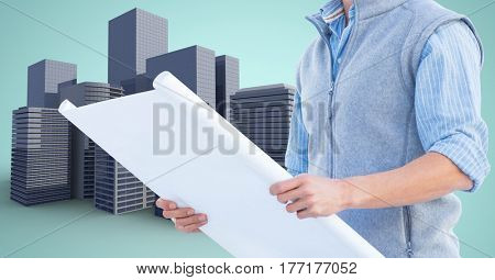 Digital composite of Architect Torso holding plan against building icons