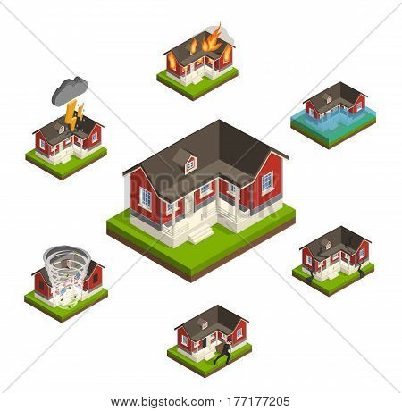 House insurance isometric concept collection with similar isolated cottage images affected by different types of damage vector illustration