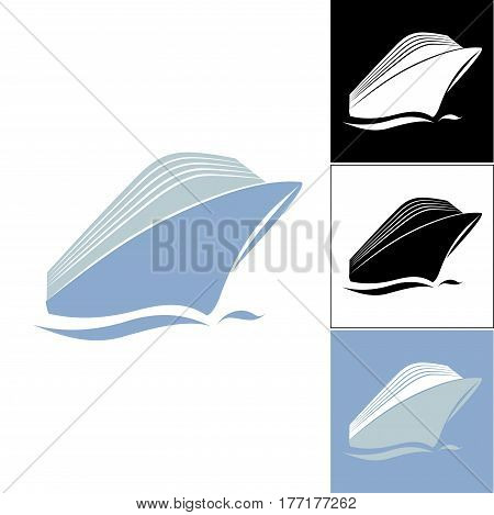 Cruise liner logo. Set of cruise liner logos. Logo on the sea theme. Logos for travel agencies. Logo for travel and travelers.