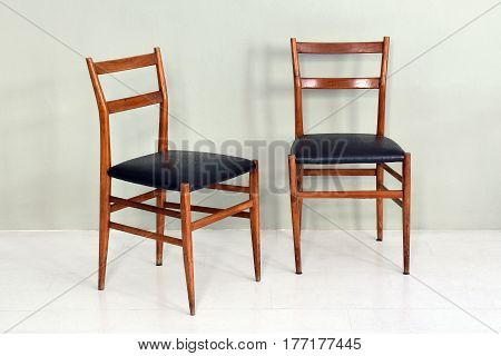 Pair Of Retro Kitchen Chairs With Wood Legs