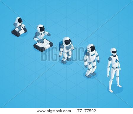 Evolution of robots isometric design with stages of androids development on textured blue background vector illustration