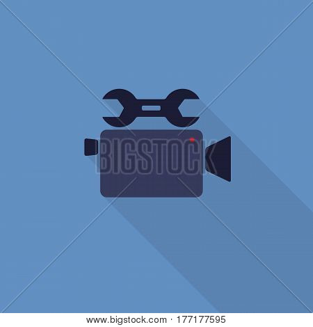 Flat Video Tool Icon with Long Shadow. Video Recorder And Wrench Icon