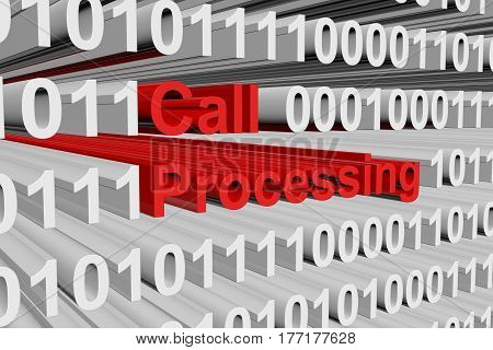 Call processing in the form of binary code, 3D illustration