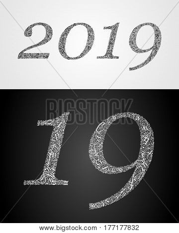 2019 year. Anniversary. World book and copyright day. International Day of writer. International Day of the Book. World Book Day. Studying and learning concept. Vector illustration.