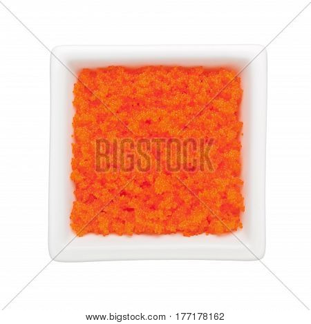Ebiko in a square bowl isolated on white background