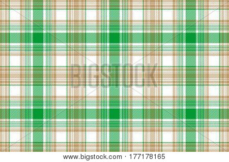 Green gold fabric texture seamless background. Vector illustration.