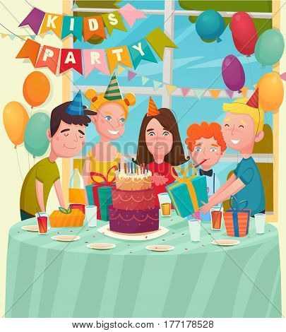 Kids birthday party background with flat characters of five happy children at festive table with balloons vector illustration