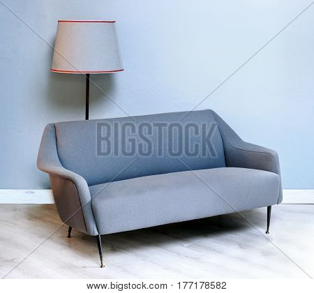 Upholstered Fabric Grey Fifties Sofa