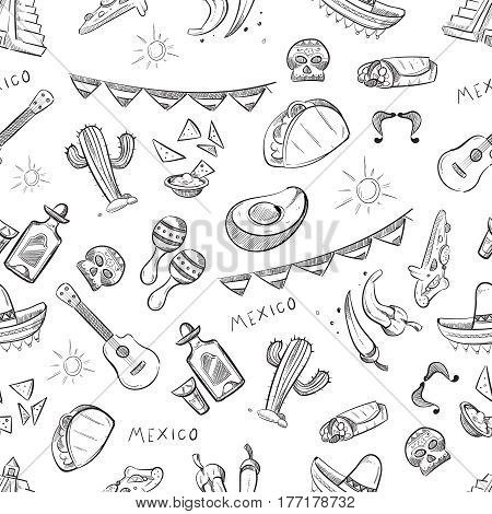 Traditional mexican food, mexico culture elements vector seamless pattern. Mexican scribble artistic background, illustration of sketch mexican tradition