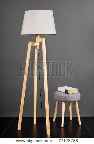 Vintage Floor Lamp With Small Stool And Book