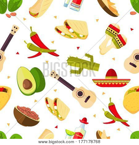 Aztec theme, cartoon mexican food, tequila, red hot chili peppers, sombrero, guitar, tacos, cactus vector. Seamless pattern mexican traditional illustration