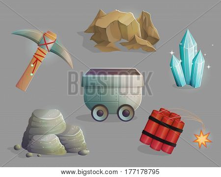 Exploration and mining of natural resources. Set of tools and devices, iron ore, gems, dinamite, trolley and pickaxe. Game and app ui icons.