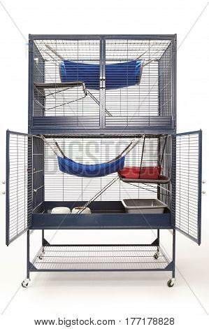 Well equipped ferret home in two floor luxury cage